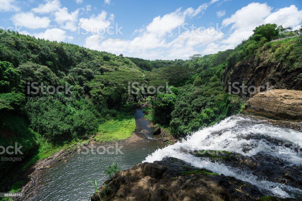 Atop the Wailua Falls in Lihue, Kauai, Hawaii stock photo