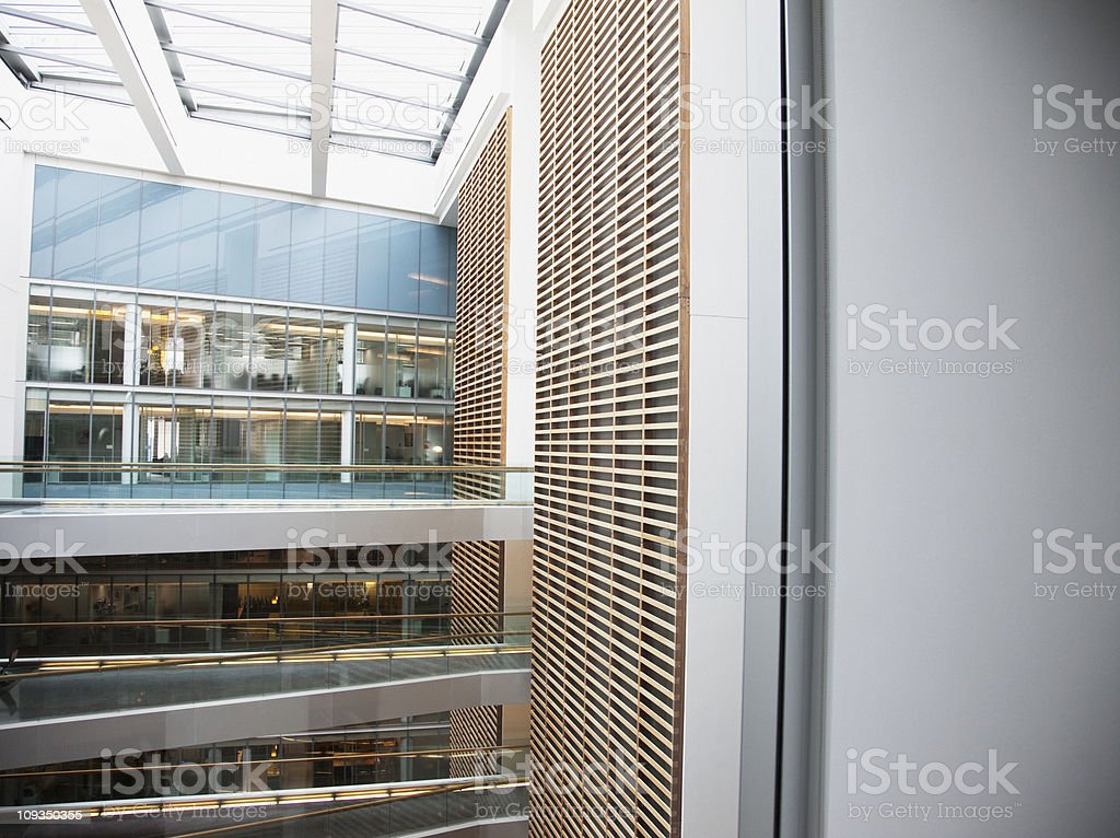 Atrium and walkways in modern office building stock photo