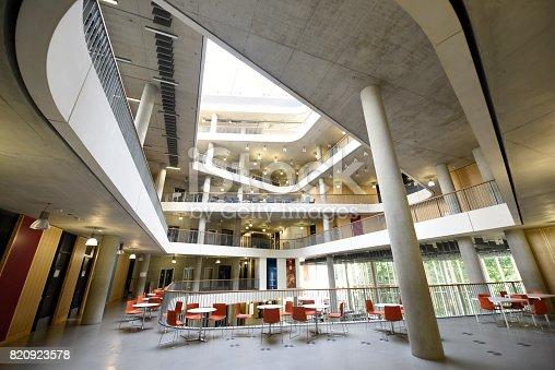 istock Atrium architecture from common area of modern university building 820923578