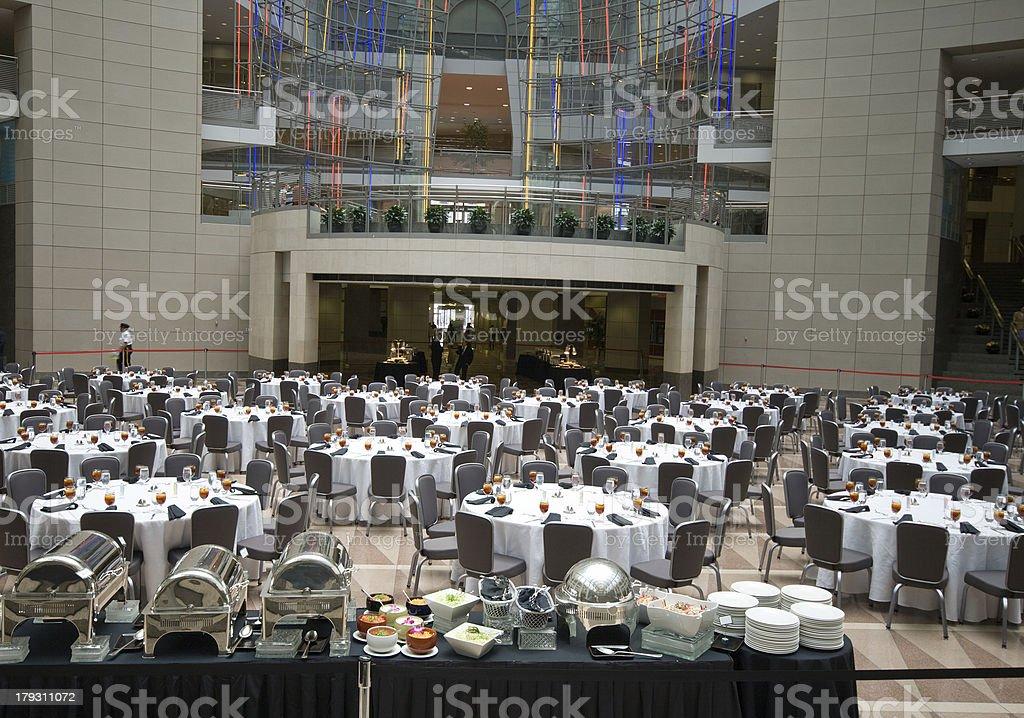 Atrium Banquet Tables Buffet  Ronald Reagan Building Washington DC stock photo