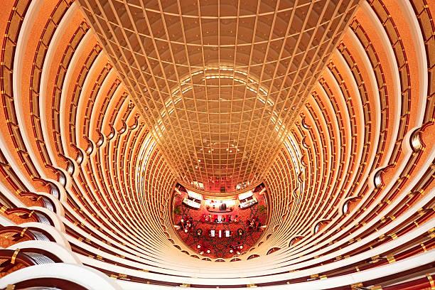 """Atrium, Shanghai, China """"Atrium inside Jin Mao Tower, Shanghai, China"""" jin mao tower stock pictures, royalty-free photos & images"""
