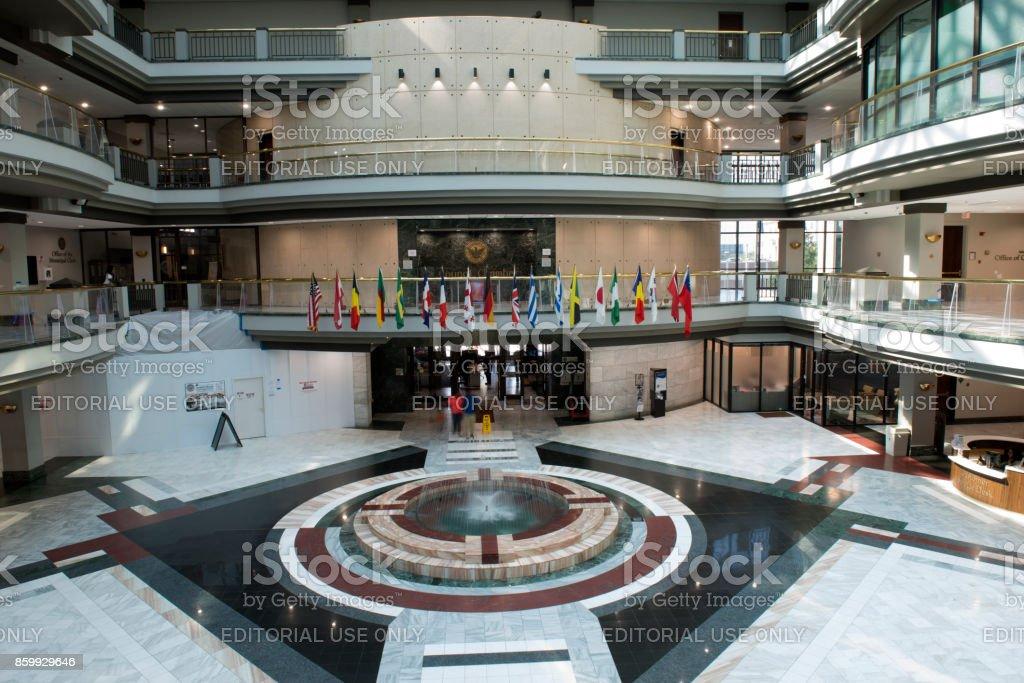 Atrium with incidental people inside the Atlanta City Hall stock photo