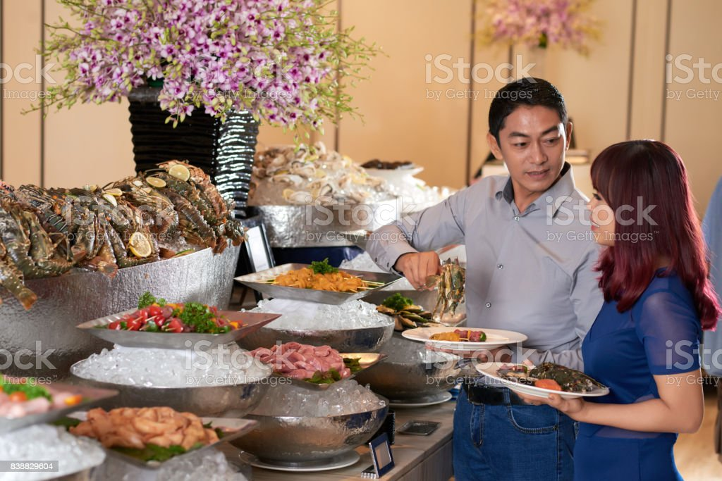 Att seafood buffet stock photo