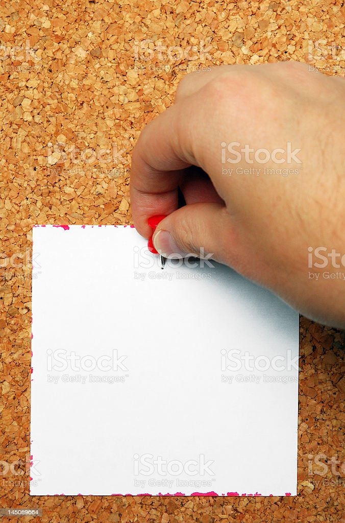 Attaching blank note royalty-free stock photo