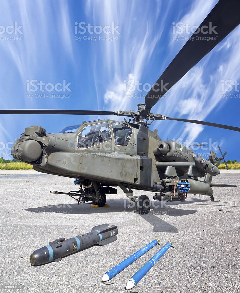 Attack chopper with missiles royalty-free stock photo