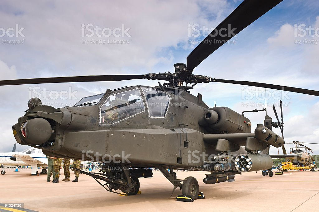 Attack chopper with missiles stock photo