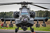 Front view of an armed attack helicopter