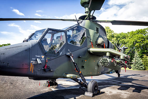 Attack helicopter Tiger UHT with missiles stock photo