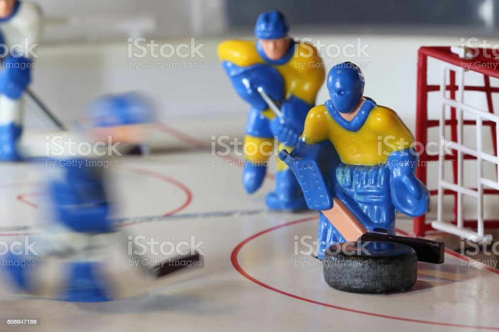 attack ice hockey table game stock photo