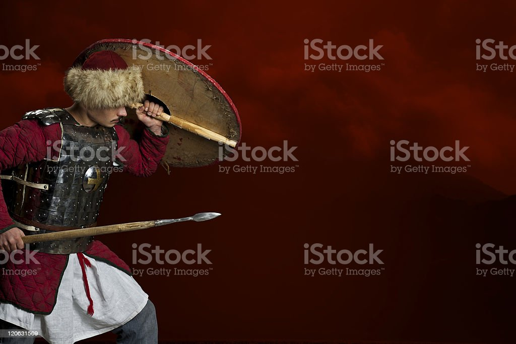 Attack knight with copyspace royalty-free stock photo