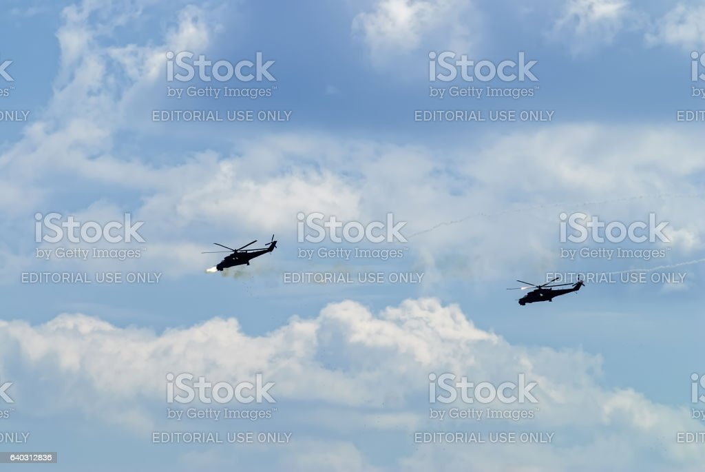 Attack of russian helicopters MI-24 stock photo