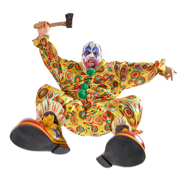 angriff des übels clown - horror zirkus stock-fotos und bilder