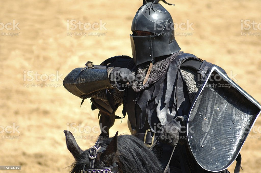 Attack of the knight stock photo