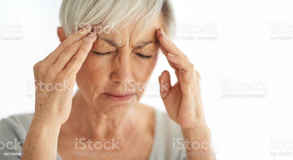 Attack of the monster migraine stock photo