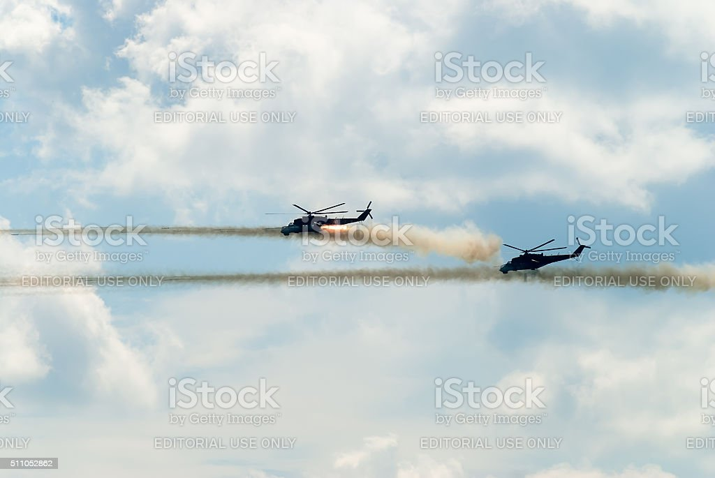 Attack of two russian helicopters MI-24 stock photo