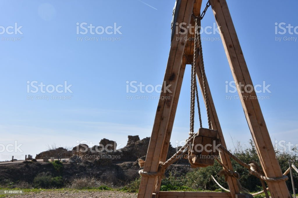 Attacking a Castle Concept  in Apollonia National Park-  Herzliya,  Israel stock photo