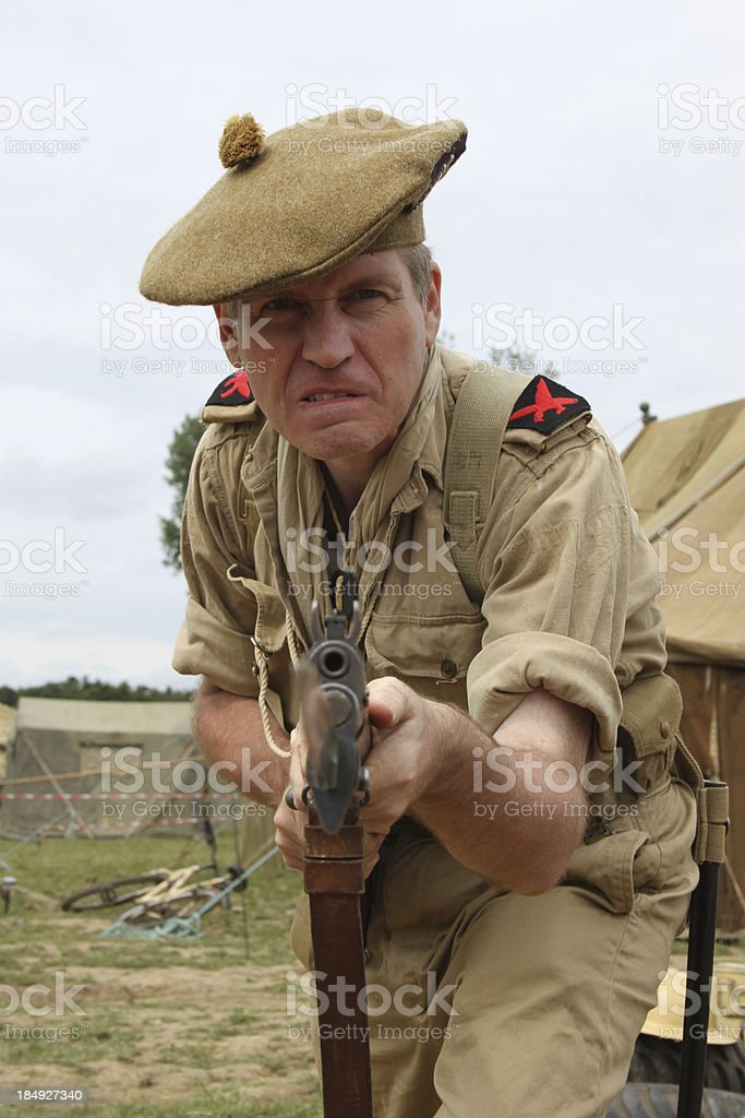 Attacking Soldier. stock photo