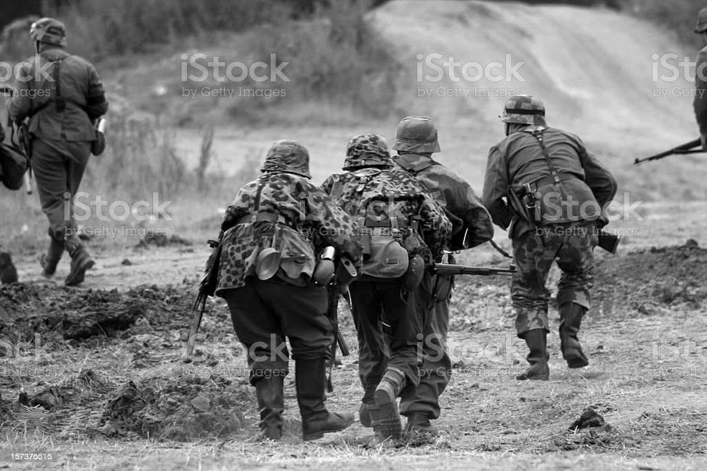 WW2 Attacking Troops. stock photo