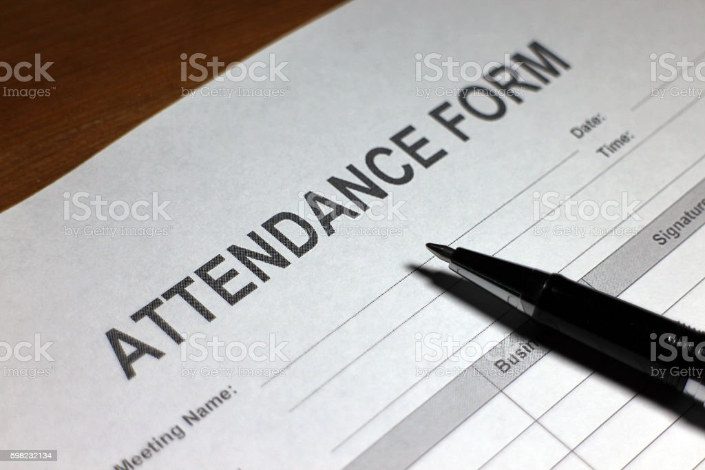 Attendance Form stock photo