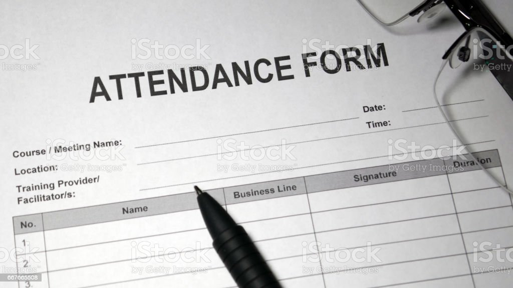 Attendance Form stock photo