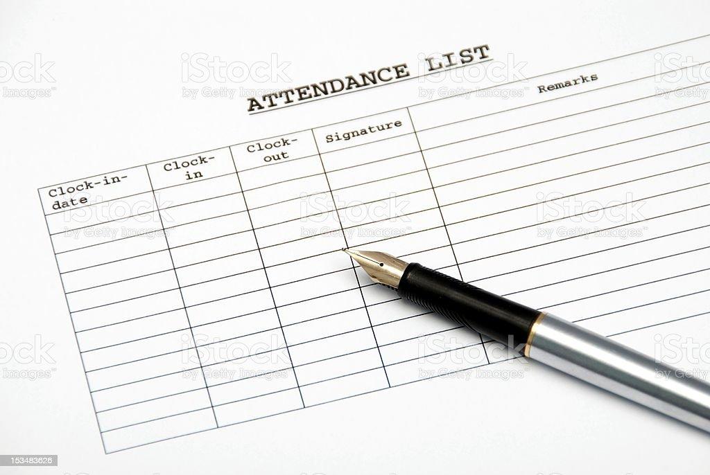 attendance list stock photo