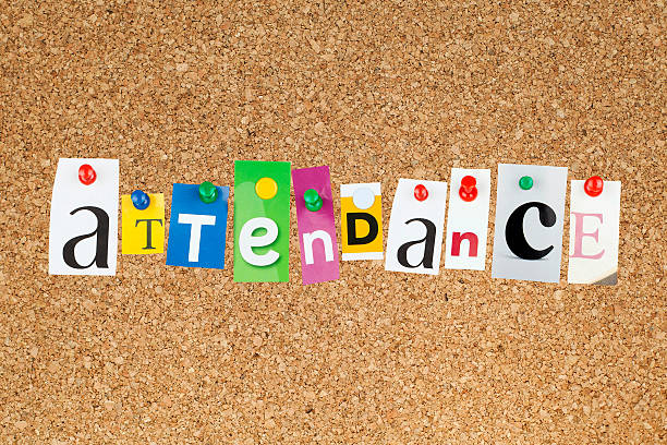 Attendance Attendance word pinned on cork bulletin board. attending stock pictures, royalty-free photos & images