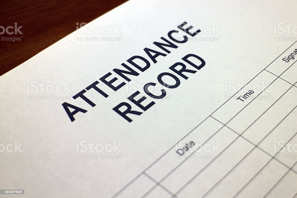 Attendance Record stock photo