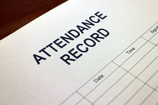 Attendance Record stock photo