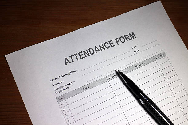 Attendance Sign In Sheet stock photo
