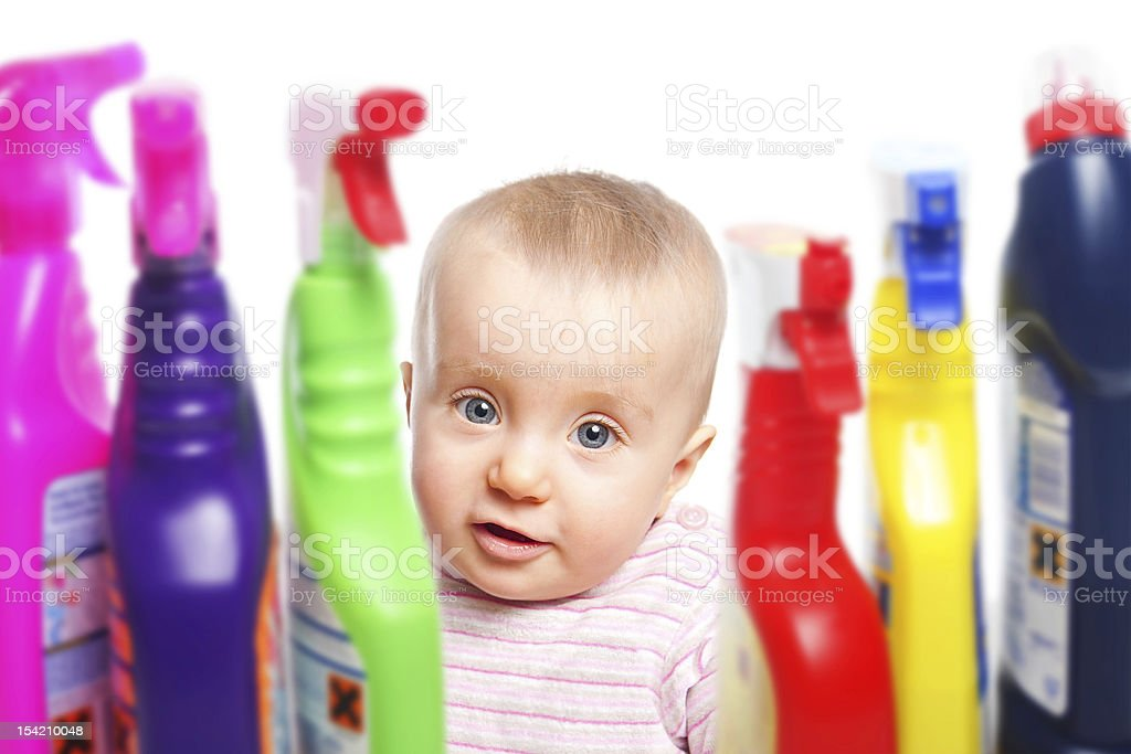 Attention: Baby wants to play with chemicals royalty-free stock photo
