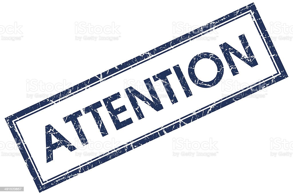 attention blue square stamp stock photo