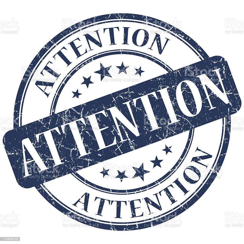 Attention blue stamp royalty-free stock photo