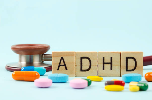 Attention deficit hyperactivity disorder or ADHD. stock photo