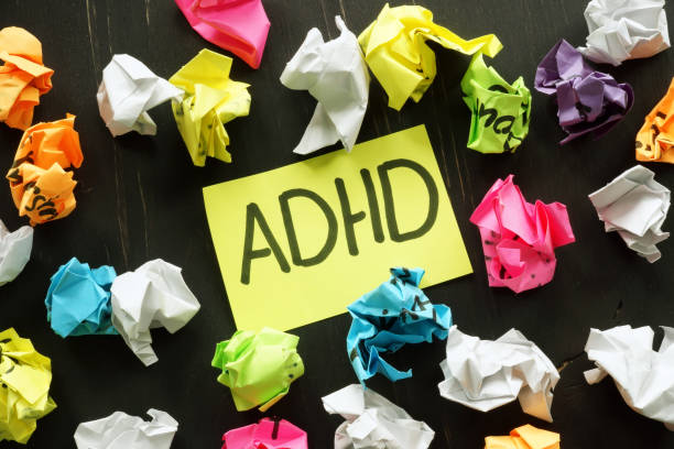 ADHD Attention deficit hyperactivity disorder sign and paper balls. stock photo