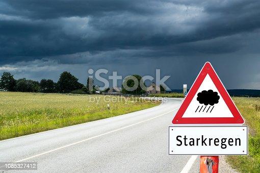 Attention heavy rain sign