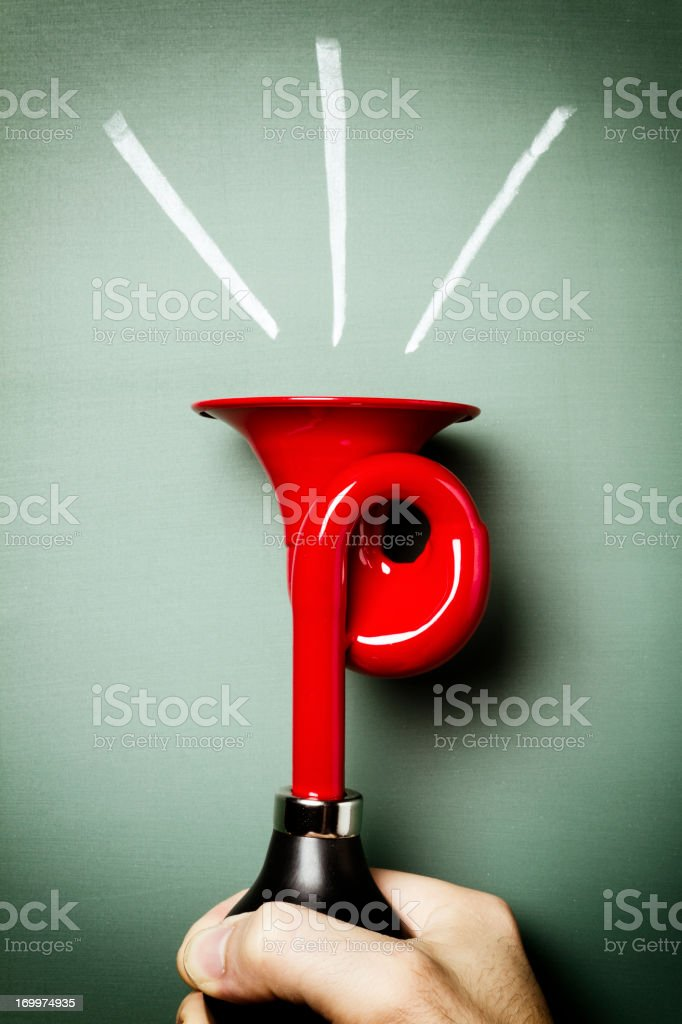Attention Please! - Signal Horn Alarm Loud Scare Humor stock photo