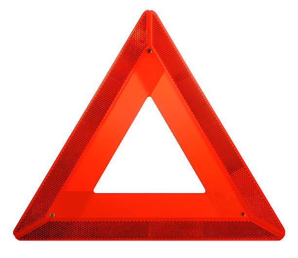 attention: red hazard danger ahead iconic safety warning triangle sign - triangle shape stock photos and pictures