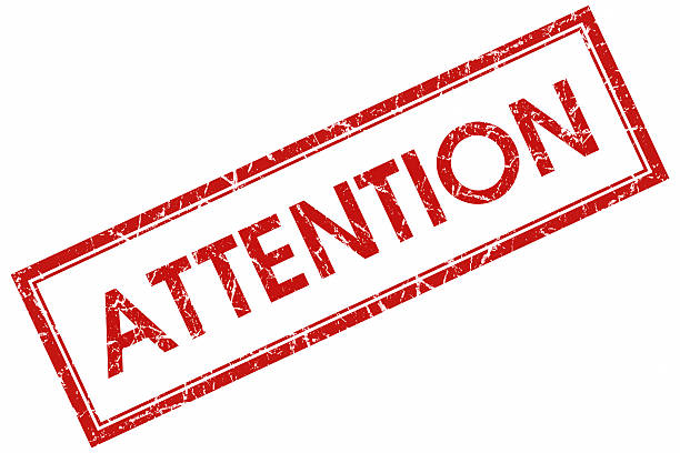 attention red square stamp stock photo