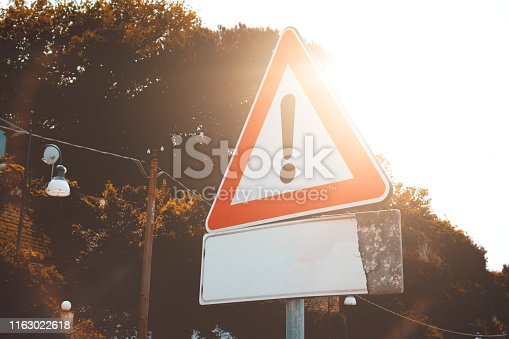attention traffic sign for transportation themes