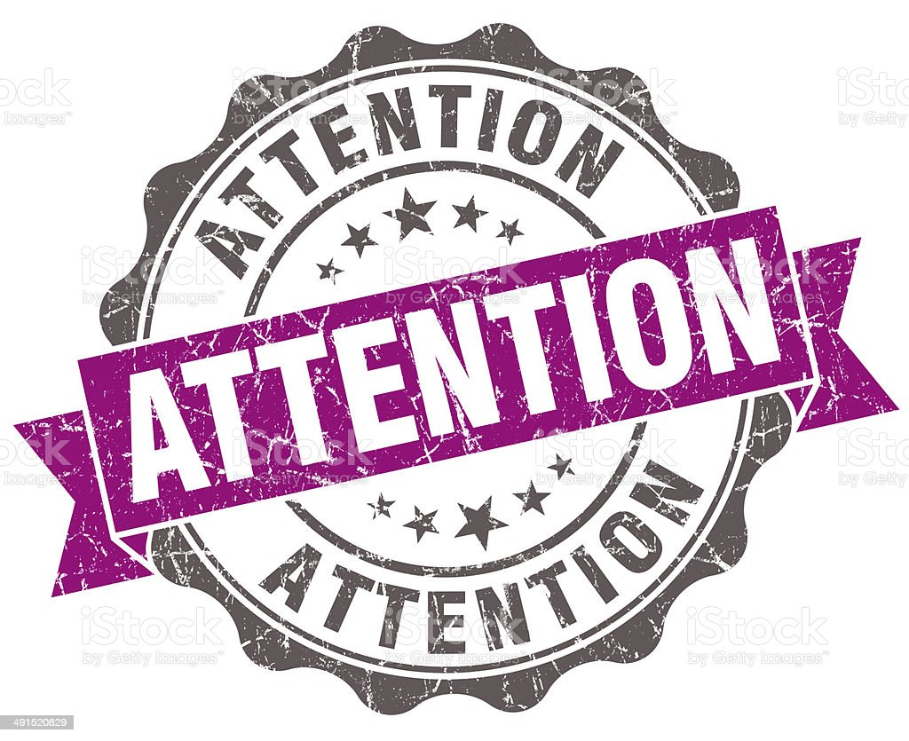 Attention violet grunge retro style isolated seal stock photo