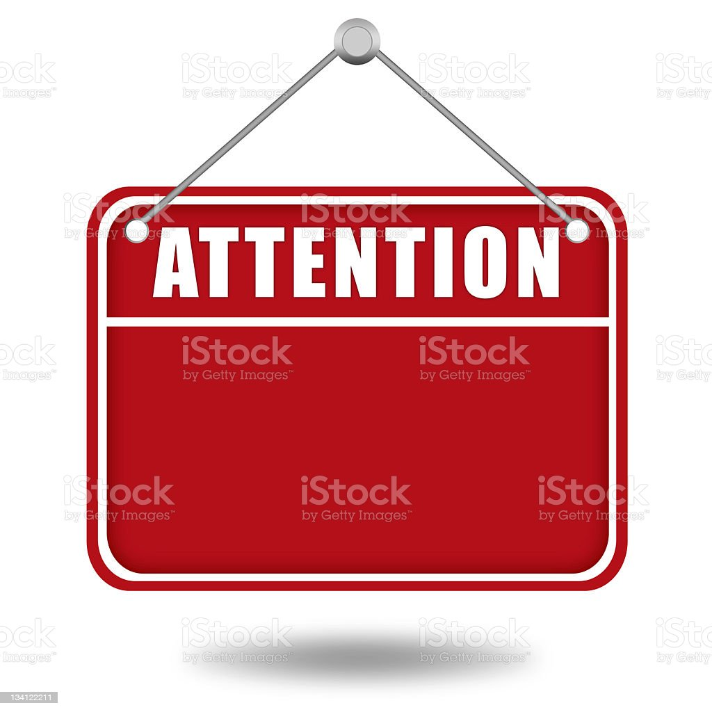 Attention warning board royalty-free stock photo