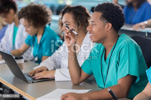 600055398 istock photo Attentive African American male pre-med student in class 638602050
