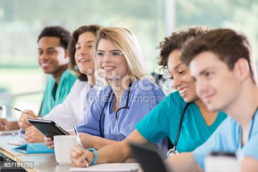 istock Attentive medical students in class 637181770