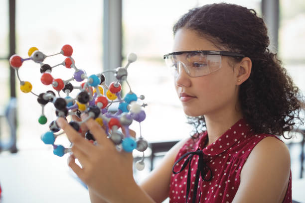 attentive schoolgirl experimenting molecule model in laboratory - physics stock photos and pictures