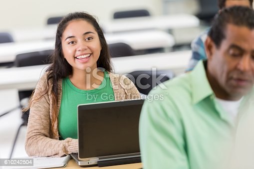 istock Attentive young Hispanic woman during continuing education course 610242504