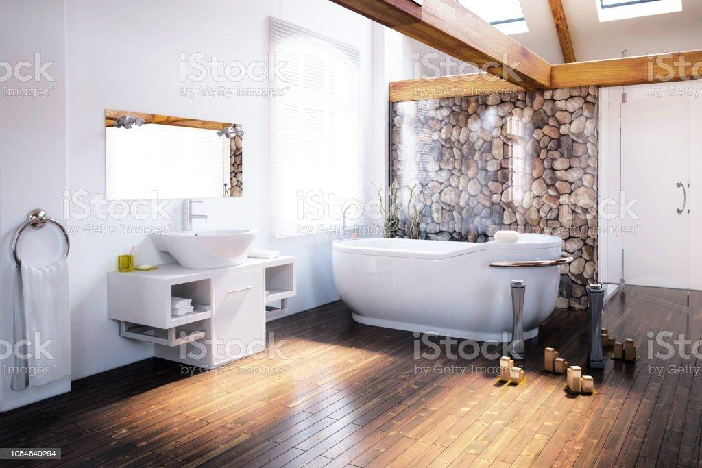 Attic Bathroom Design stock photo