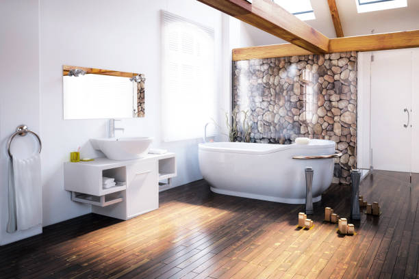 attic bathroom design - bathroom renovation stock photos and pictures