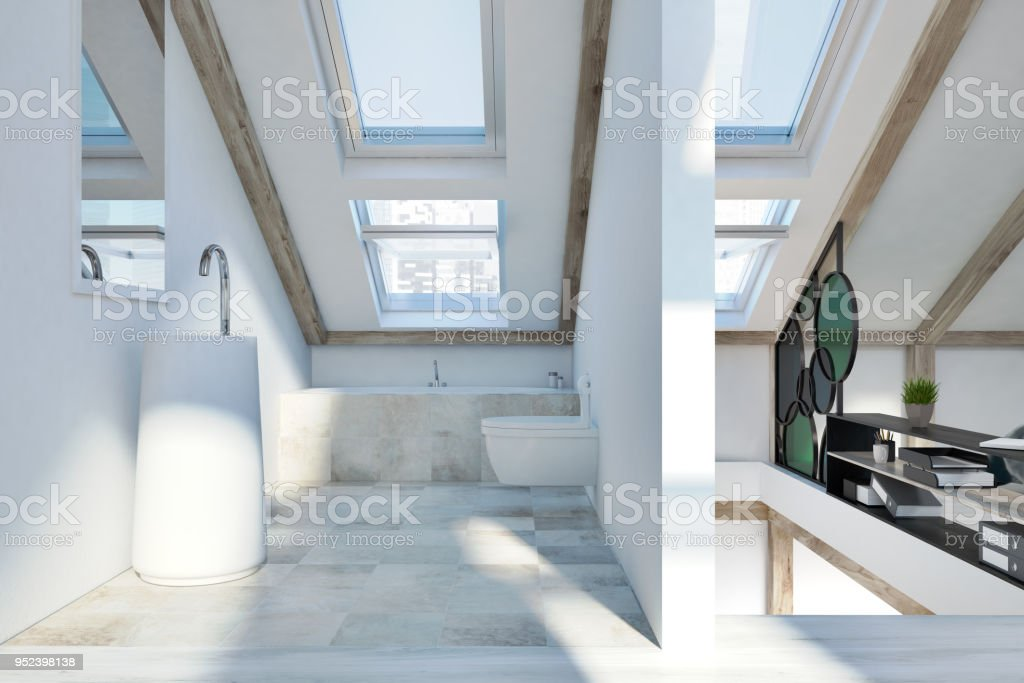 Dachgeschoss Schlafzimmer Und Badezimmer Interieur Stockfoto ...