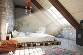 Loft bedroom design in the attic
