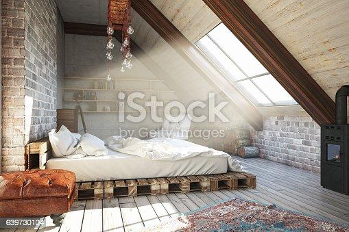 istock Attic Bedroom 639730104